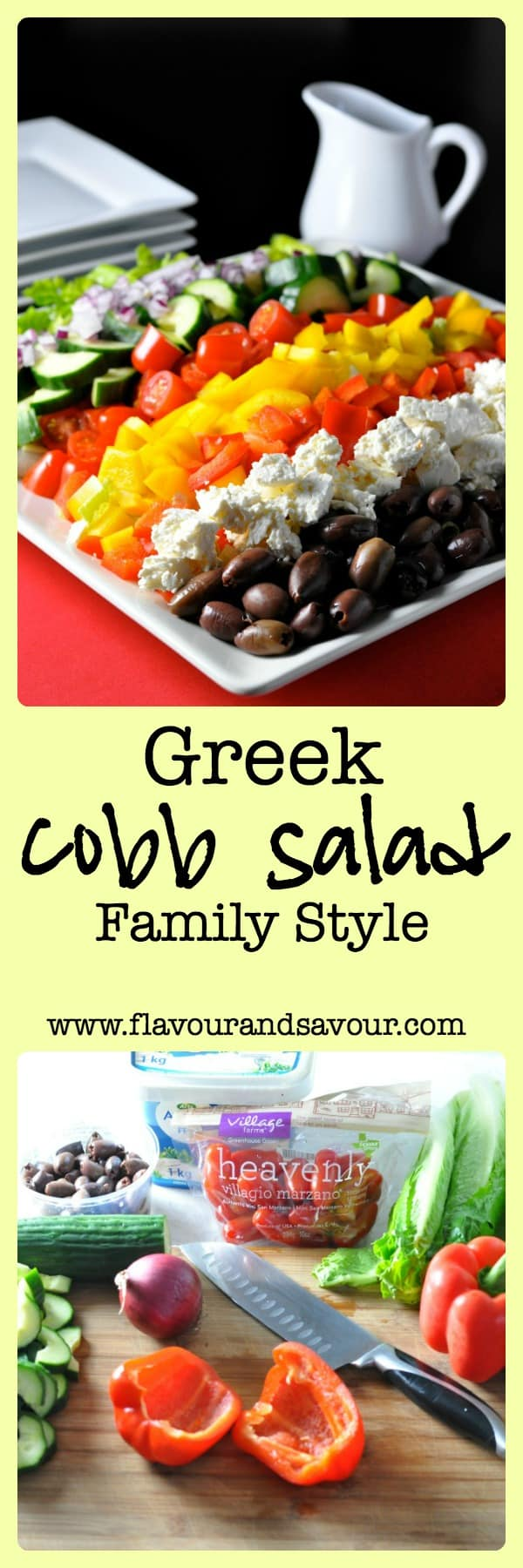 Greek Cobb Salad--Family Style. Provide choices and let everyone make their own.  www.flavourandsavour.com