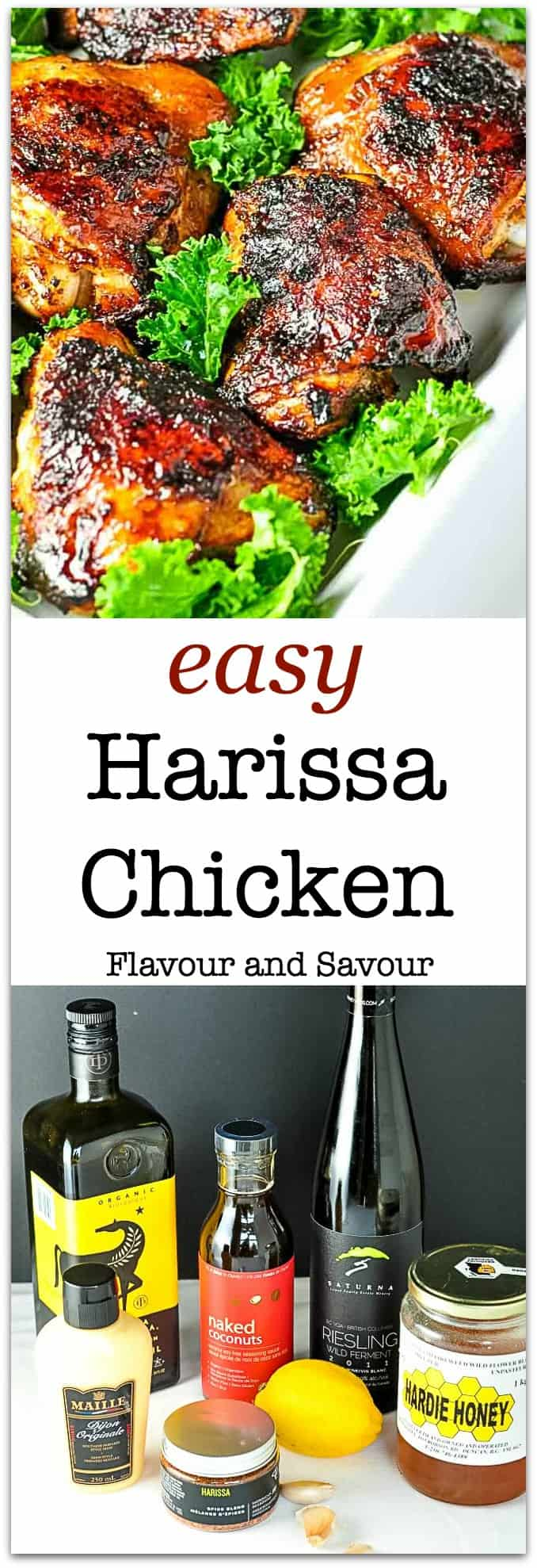 Easy Harissa Chicken. Enjoy the exciting flavours of North Africa in this easy-to-make chicken dish.  Whisk, marinate and bake! Just the right amount of spice to keep it interesting without overpowering.