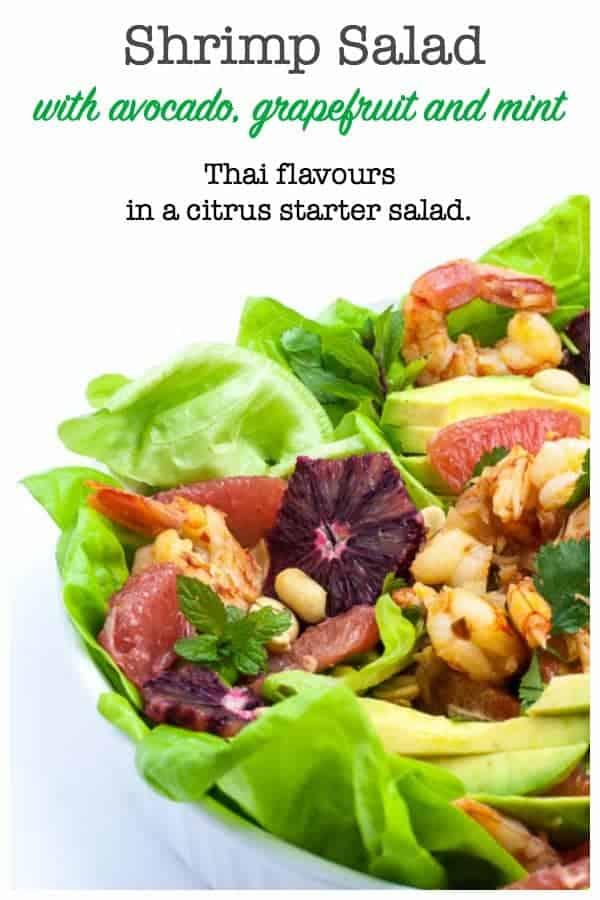 Shrimp Salad with Grapefruit and Mint with blood orange slices