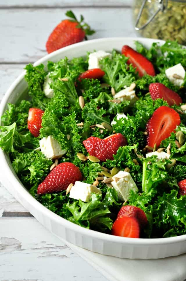 Strawberry Kale Salad with Poppy Seed Dressing from Flavour and Savour