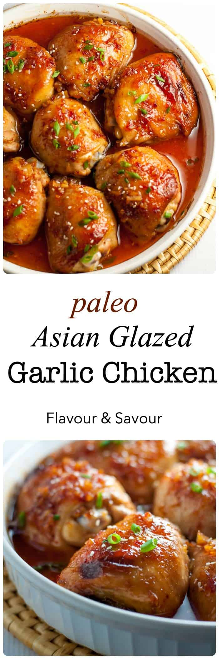 This Paleo Asian Glazed Garlic Chicken is so easy! Tender, juicy chicken thighs glazed with an Asian-inspired sauce with a little heat and hints of garlic, sesame and ginger. #asian #garlic #chicken #thighs #ginger #sesame #paleo