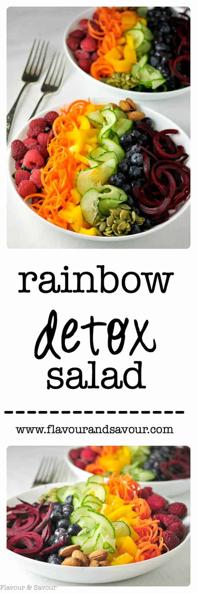 This colourful vegan Rainbow Detox Salad is full of healthy vegetables, berries and seeds that can help to detoxify your body and brighten your skin. Have fun creating a beautiful whole-meal salad! #rainbow #salad #vegan #antioxidants