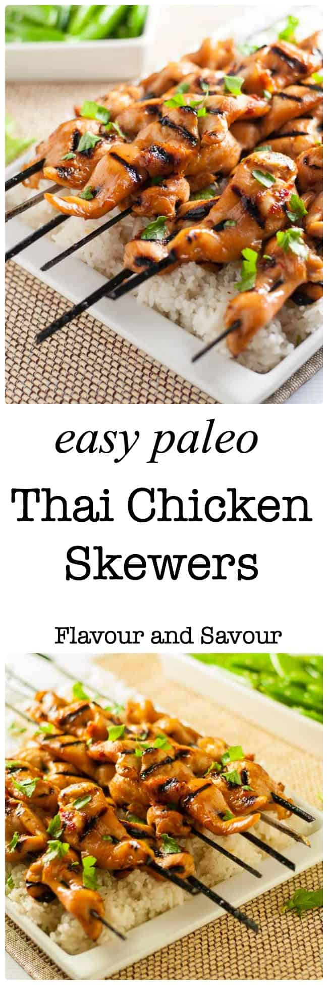 These easy Paleo Thai Chicken Skewers are sweet, spicy and succulent. You can use skinless, boneless chicken breasts, chicken tenders, or chicken thighs in this recipe. They all work beautifully, resulting in flavourful kabobs, fresh from the grill.