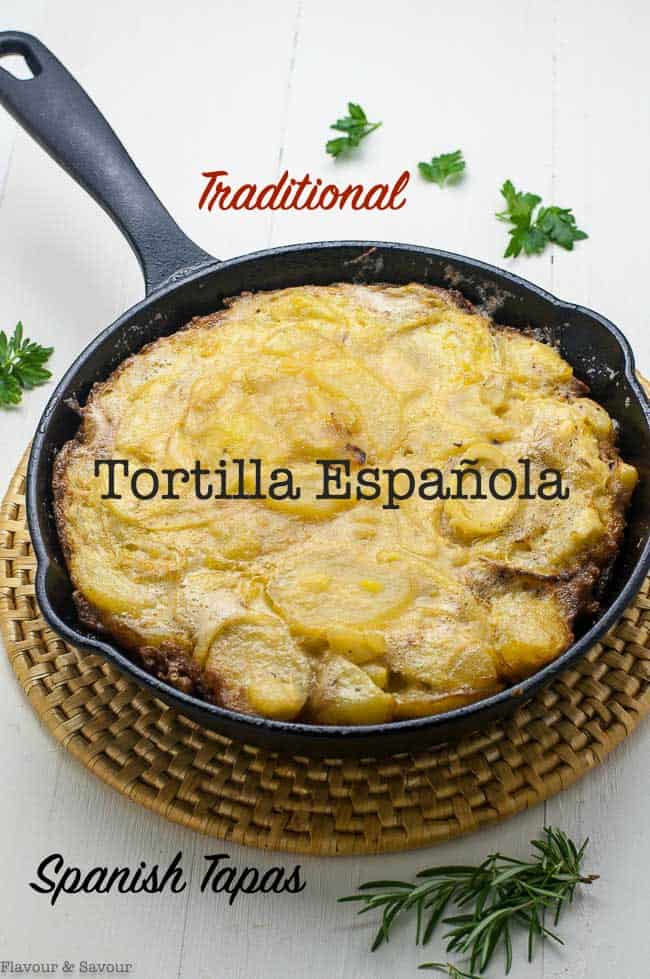 Get this quick and easy recipe for Tortilla Española, or Spanish Tortilla. These tapas are perfect for a tapa party, or for breakfast, lunch or dinner! Made with just 4 ingredients, this one hasn't failed me yet! #Spanish #omelet #española #tapas