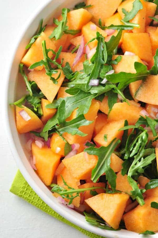 Cantaloupe Arugula Salad with Poppy Seed Dressing |www.flavourandsavour.com