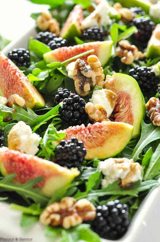 Fresh Fig Arugula Salad with Blackberries close up view