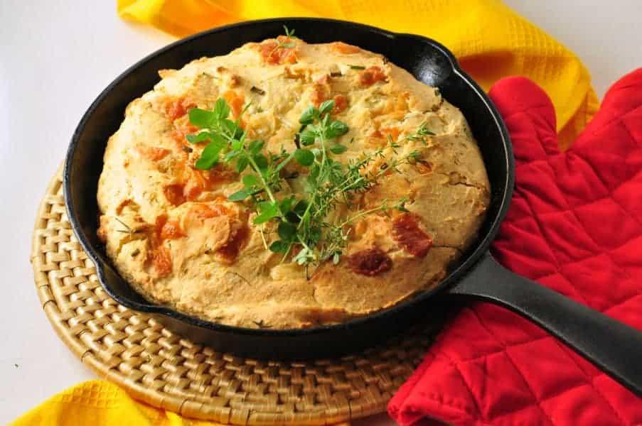 Gluten-free Cheesy Herb Cornbread.