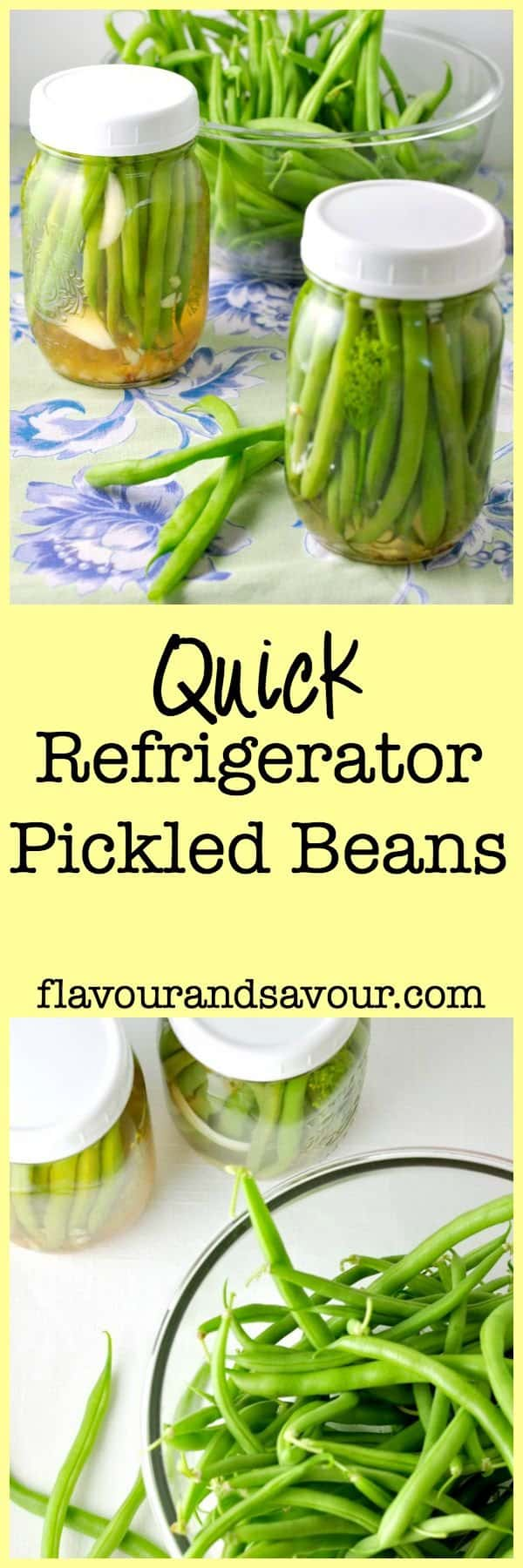 Quick Refrigerator Pickled Beans. If you've never made pickles before, here's an easy way to get started. Great as a garnish for Caesar cocktails, as a side dish or just as a snack. If I can make them, anyone can!