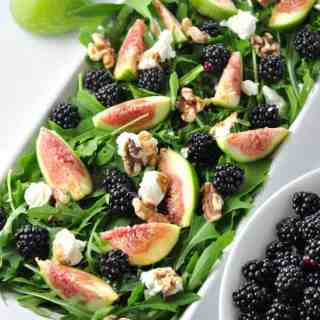 Fresh Fig Arugula Salad with Blackberries, Goat cheese and Walnuts |www.flavourandsavour.com