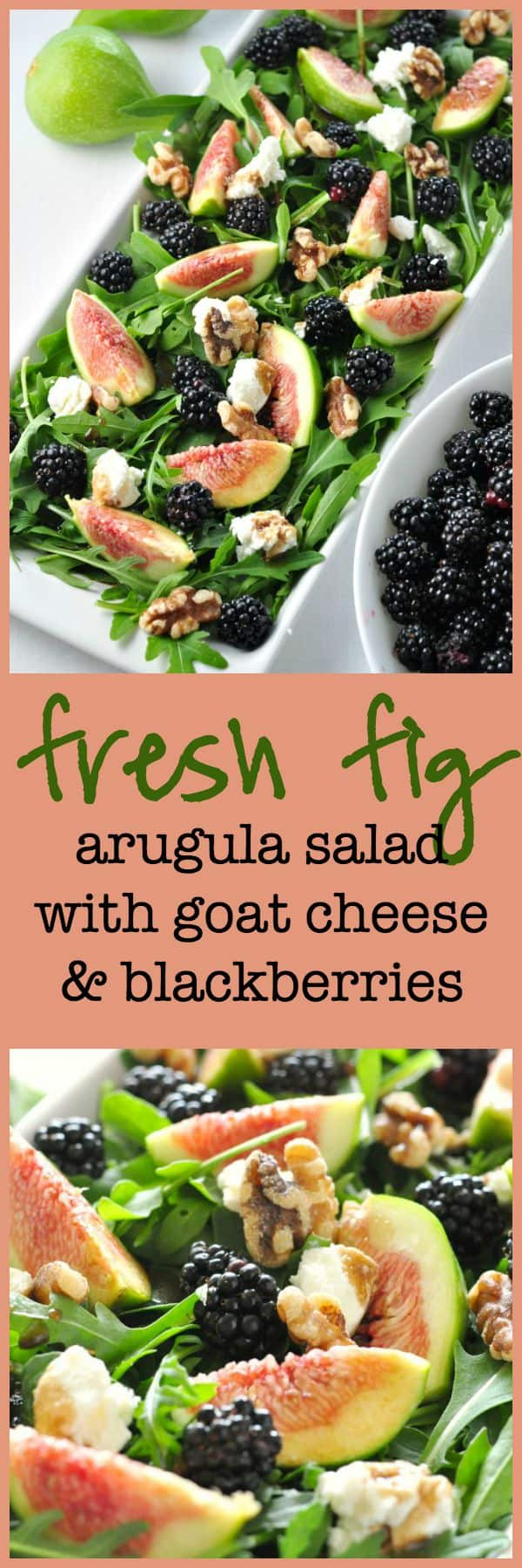 Savour the flavours of the season with this fresh fig arugula salad with blackberries, goat cheese and walnuts.