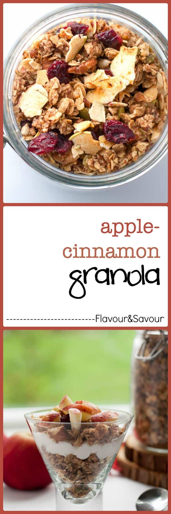 How to Make Apple Cinnamon Granola. Learn to make healthy apple cinnamon granola, or any granola, without a recipe by following this easy guide. It's full of healthy wholesome ingredients. |www.flavourandsavour.com