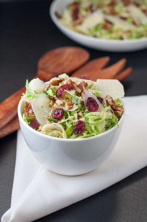 Brussels Sprout Salad with Cranberries and Pecans