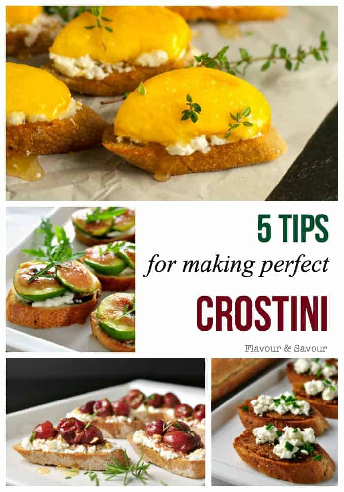 Making crostini is easy, but there are some pitfalls to avoid. Here are 5 tips to follow to guarantee success. Get the recipes for 9 different topping ideas. #howtomake #crostini #ideas #appetizers #easy