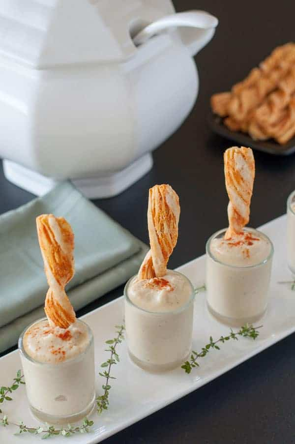 Roasted Cauliflower Soup Shots in small shooter glasses