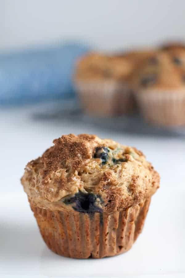 Healthy Low-Fat Blueberry Banana Muffins. Skinny!|www.flavourandsavour.com