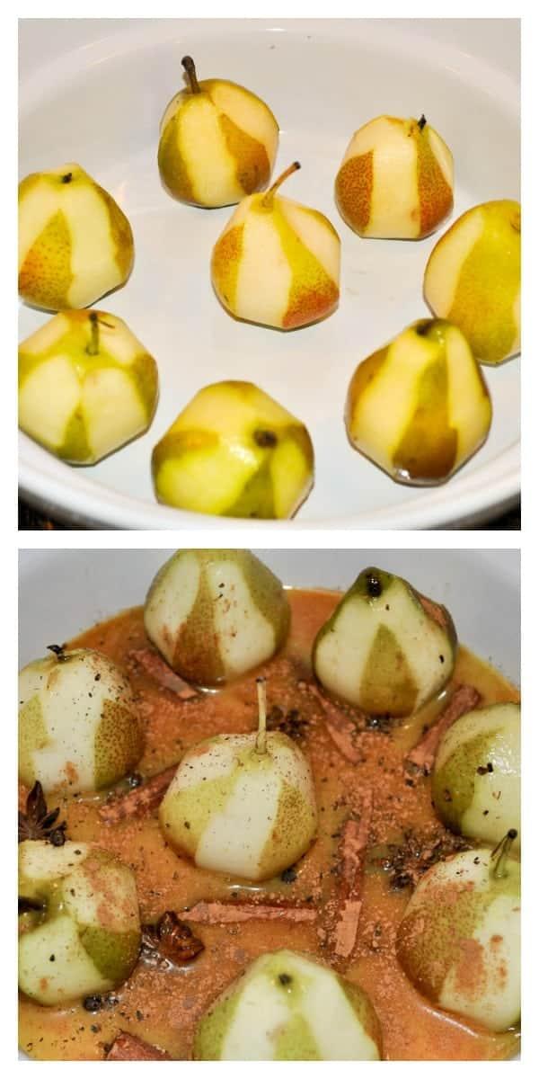 Mulled Cinnamon-Orange Pears with Mascarpone collage