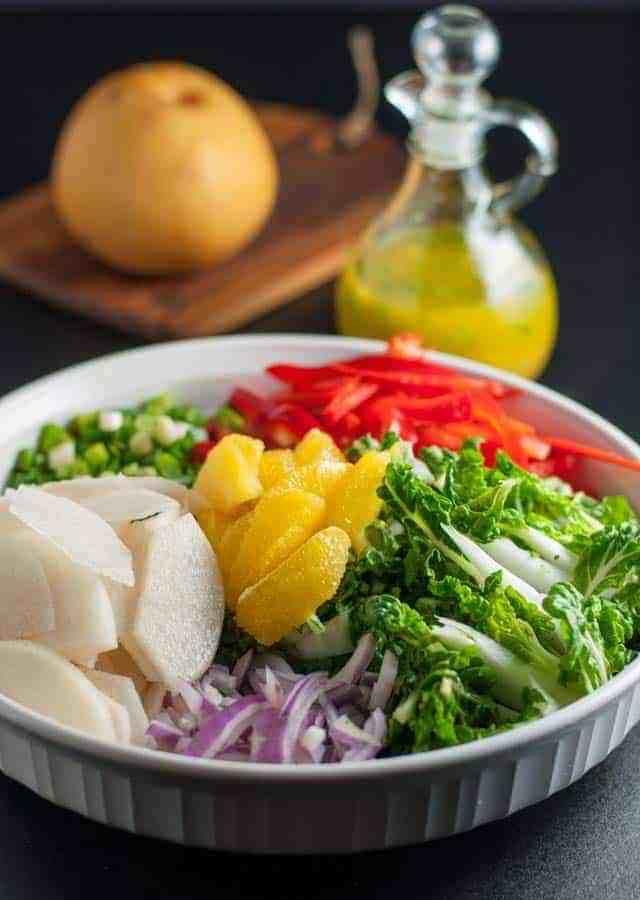Baby Bok Choy Salad with Ginger Orange Dressing