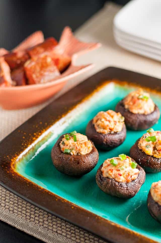 Smoked Salmon and Goat Cheese Stuffed Mushrooms, Easy appetizer. Perfect for parties year round. Gluten-free!