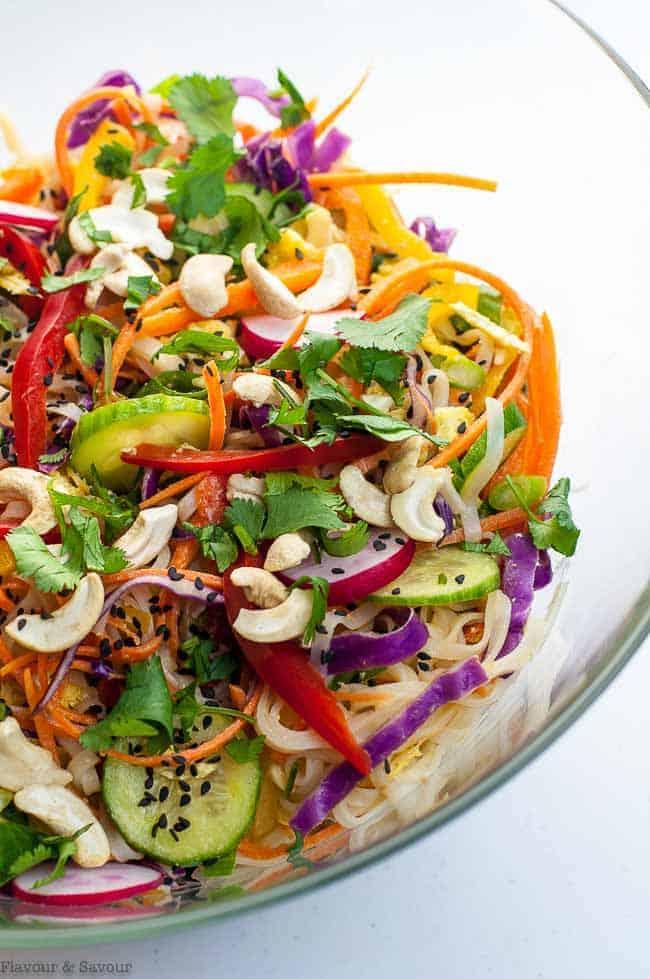 Crunchy Thai Noodle Salad in a serving bowl