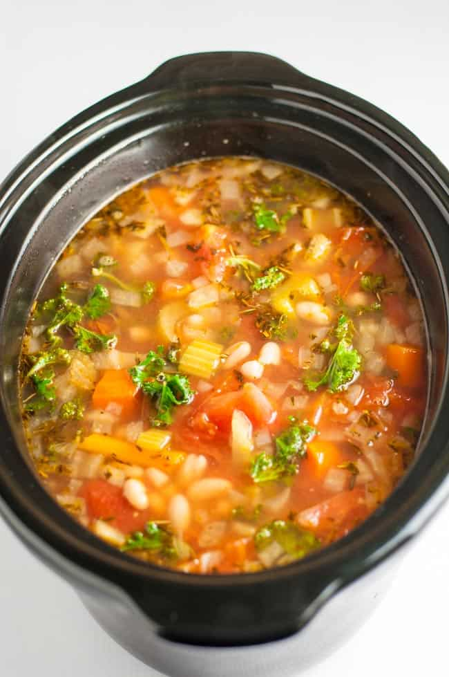 One-Pot Healthy Tuscan Minestrone Soup in a slow cooker.