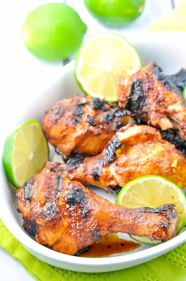 Easy 5-Ingredient Chili Lime Drumsticks. Juicy chicken flavoured with a honey-lime-chilli marinade.