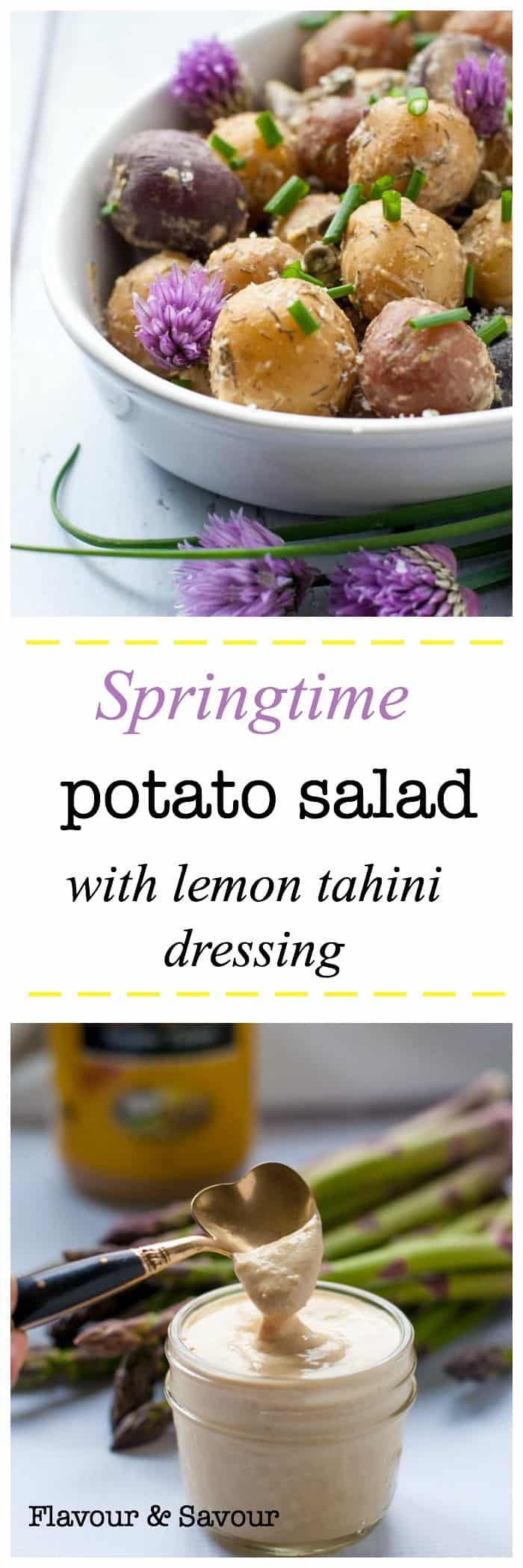 This Springtime Potato Salad is made with baby potatoes, capers, dill, chives, Dijon, and a light, creamy lemon-tahini dressing. It's mayo-free, too!