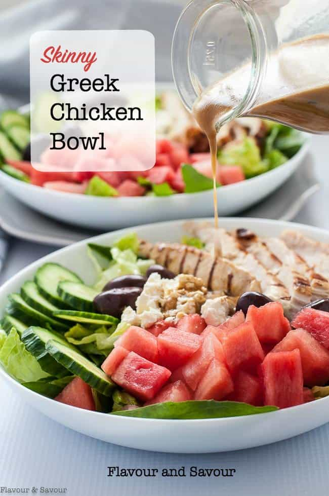 Skinny Greek Chicken Bowl with Watermelon and Feta. An easy, healthy summertime meal in a bowl. Succulent chicken marinated with lemon and herbs, sweet watermelon, feta cheese and Kalamata olives all drizzled with balsamic reduction. #power_bowl #Greek #chicken #salad #feta #watermelon