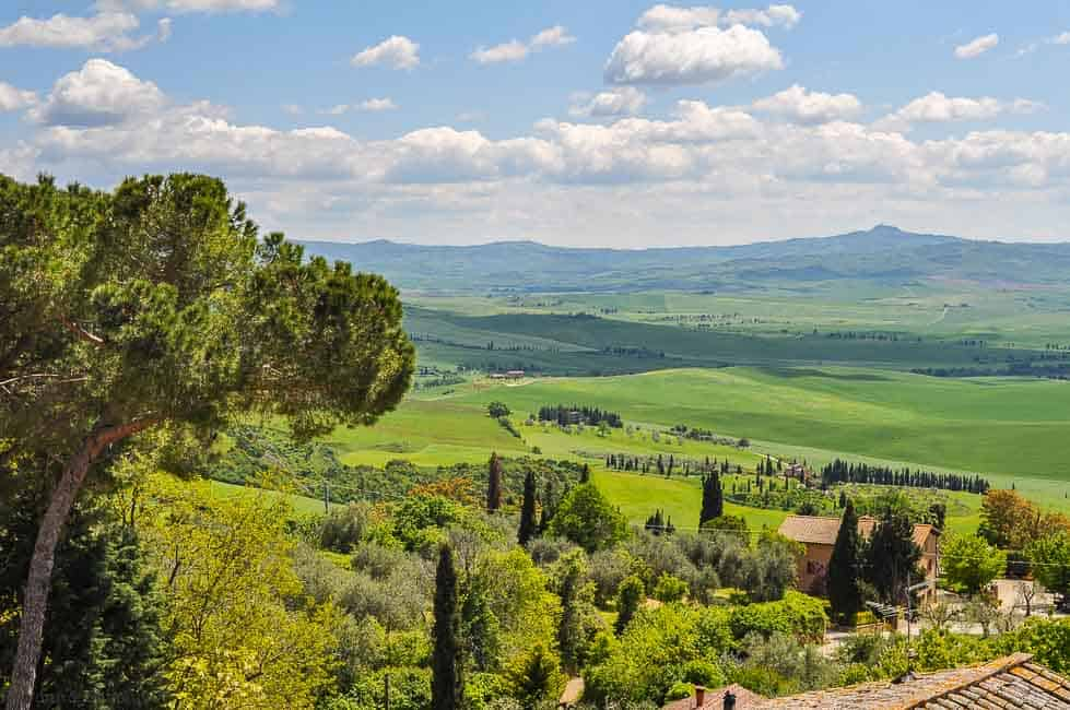 Tuscan hillside panorama, one of the spectacular sights to see while driving in Italy