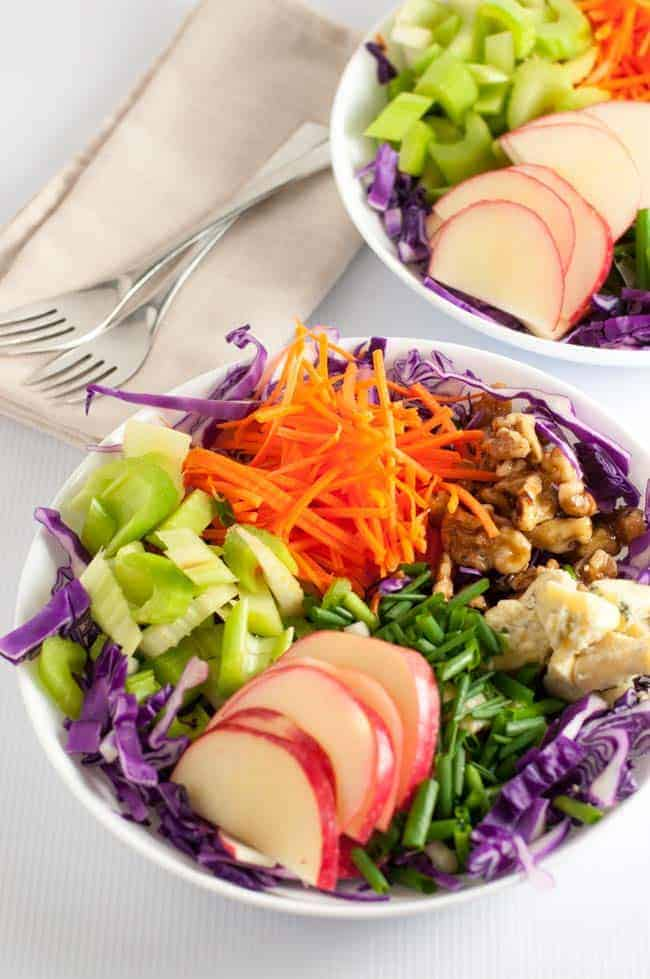 This salad has it all! Colour, crunch, contrasting flavours and a creamy dressing! Blue Cheese, Apple and Walnut Slaw from Flavour and Savour.