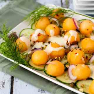 Melon-Cucumber Salad with Creamy Greek Yogurt Dressing |www.flavourandsavour.com