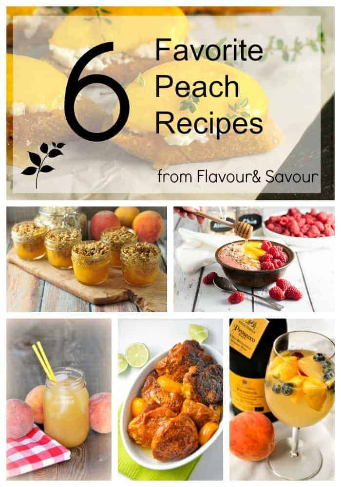 6 Favourite Fresh Peach Recipes from Flavour and Savour. Is there anything better than fresh peaches? This includes recipes for lemon ricotta crostini with honeyed peaches, peach melba smoothie bowl, peach iced tea, peach crisp, chipotle peach glazed chicken and the BEST peach sangria!