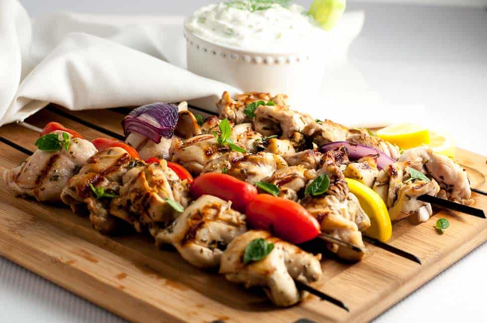 Easy Greek Lemon Chicken Kabobs with Tzatziki Sauce. One of 3 easy chicken meals to marinate, freeze and bake.