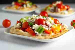 Greek Salad Mini Flatbread with Tzatziki Sauce