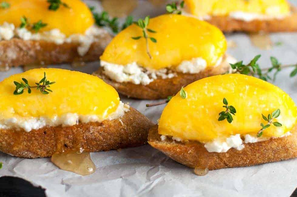 Lemon Ricotta Crostini with Honeyed Peaches