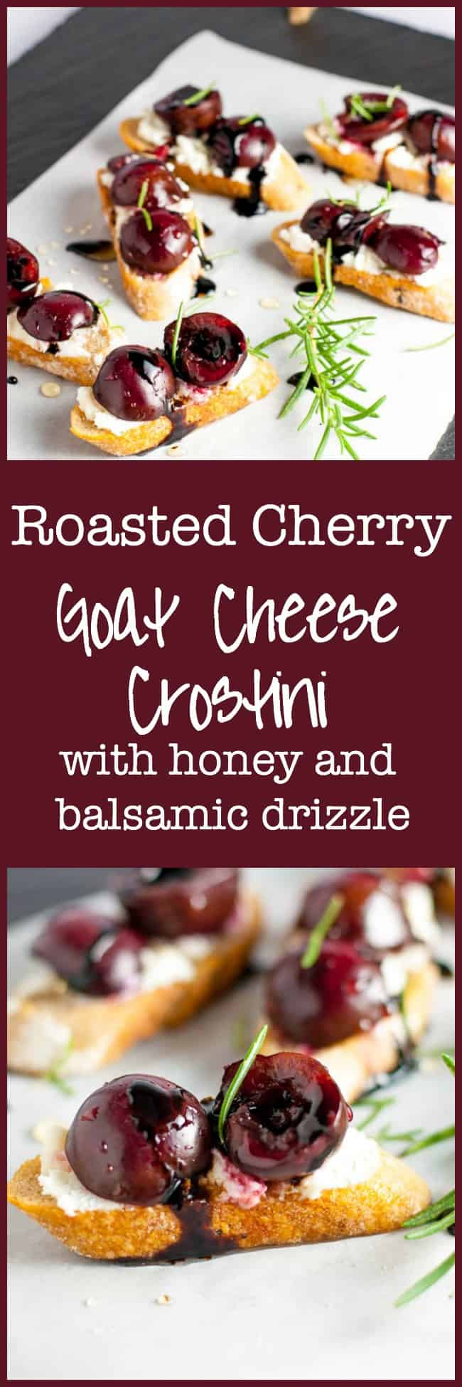 Easy and delicious Roasted Cherry Goat Cheese Crostini with honey and balsamic drizzle. Incredible flavours! #appetizer #cherries #goat_cheese #honey #baguette #crostini #fingerfood