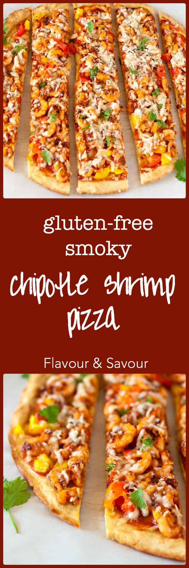 This Smoky Chipotle Shrimp Pizza is smoking hot! Chipotle peppers and garlic season fresh shrimp and crunchy red and yellow bell peppers. Make it gluten-free!|www.flavourandsavour.com