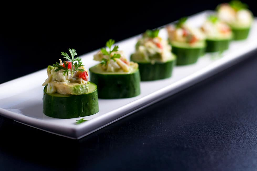 Crab-Stuffed Cucumber Cups. An easy healthy appetizer that's gluten-free and dairy-free!  www.flavourandsavour.com