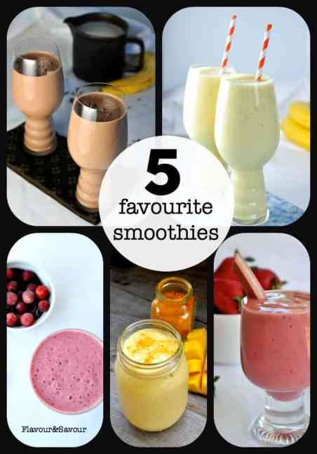 Five Favourite Smoothie Recipes for a healthy start to your day! |www.flavourandsavour.com