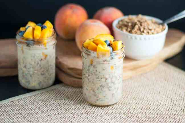 Try these Peach and Blueberry Overnight Oats, Mango Turmeric Overnight Oats, or Overnight Oats: Breakfast to Look forward to. Creamy oatmeal without the cream! |www.flavourandsavour.com