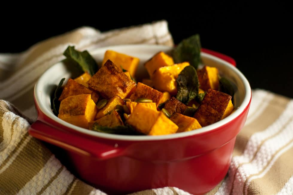 Roasted Butternut Squash with Toasted Sage and Pumpkin Seeds. This side dish of Butternut squash with sage and pepitas is an easy way to make your favourite squash sublime! Adding toasted sage leaves and pumpkin seeds heightens the buttery flavour of the squash. |www.flavourandsavour.com