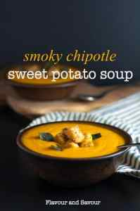 Smoky Chipotle Sweet Potato Soup with Polenta Croutons and Toasted Sage Leaves.