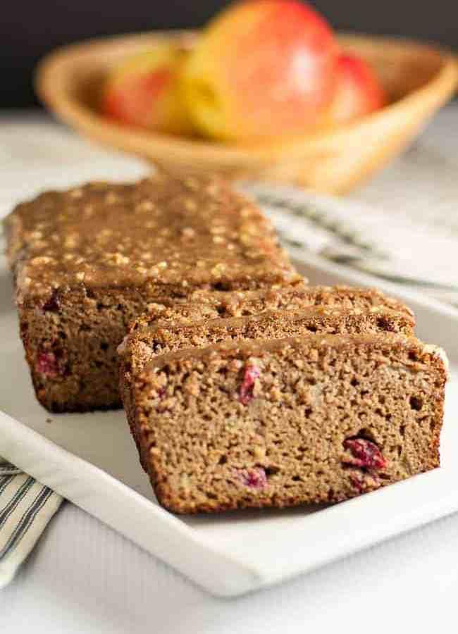 Grain-Free Apple Cranberry Bread with Pecan Glaze
