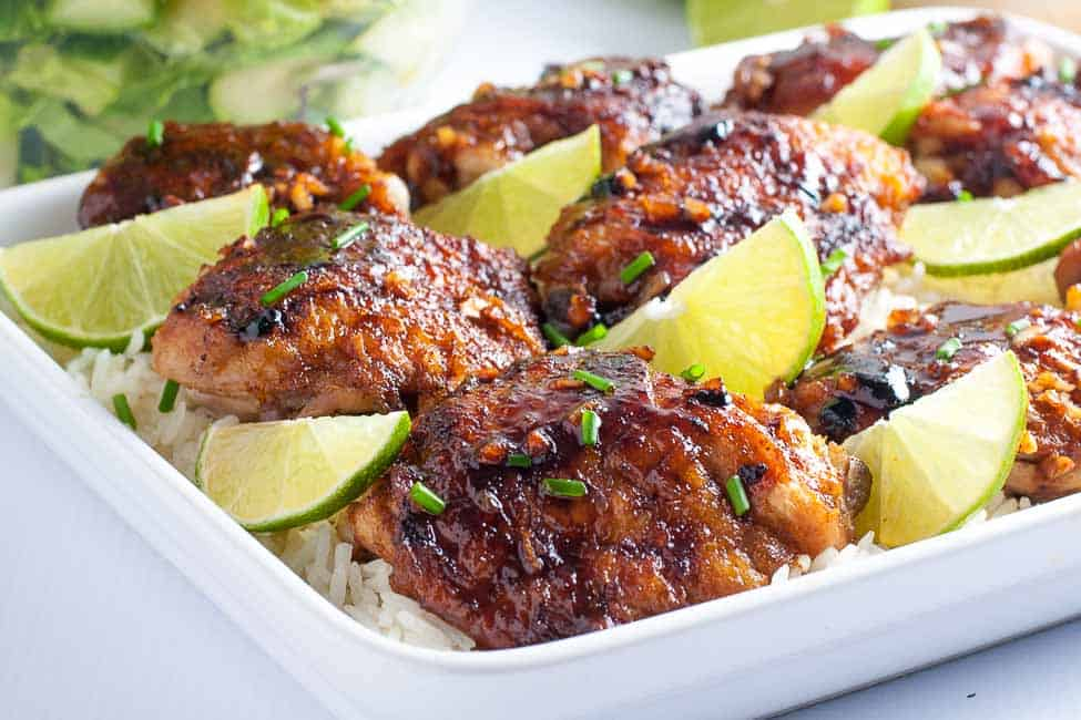 This recipe for 4-Ingredient Honey Lime Chili Chicken Thighs makes an easy weeknight meal. Just combine lime, garlic, chili powder and honey to make this sweet, spicy and succulent glaze! |www.flavourandsavour.com