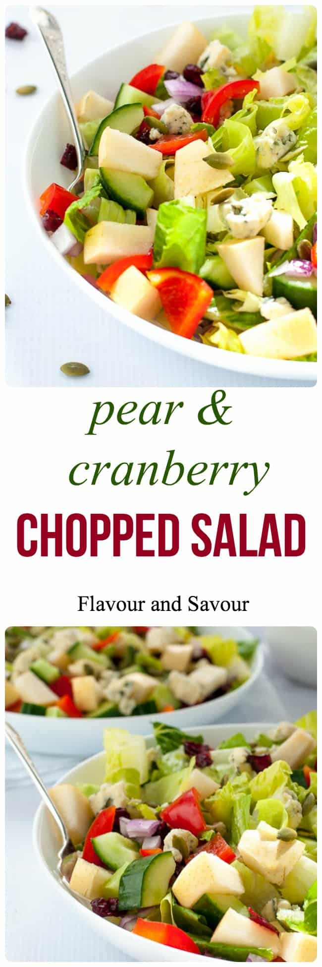 Asian Pear and Cranberry Chopped Salad. Crisp pears and crunchy vegetables with sweet cranberries and tangy blue cheese make this colourful fall salad. A family favourite, perfect for potlucks.