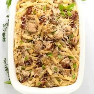 Sun dried Tomato Artichoke Chicken Penne Pasta made with gluten-free pasta. |www.flavourandsavour.com
