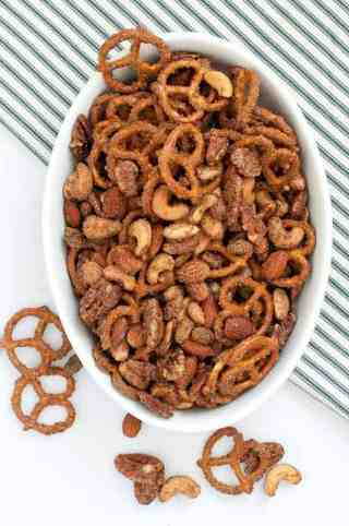 Sweet and Spicy Pretzel Nut Snack Mix.