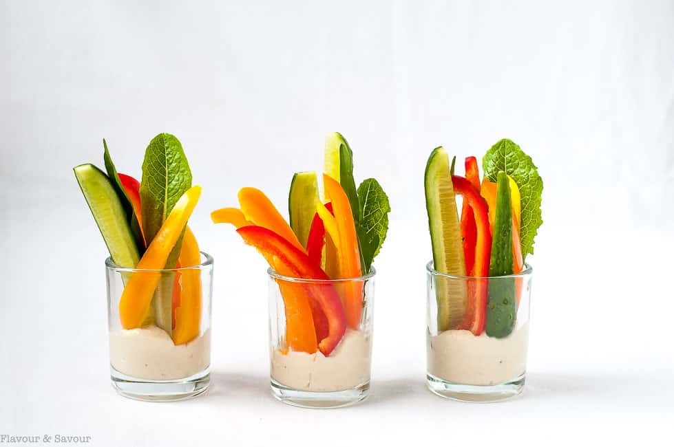 Creamy Cannellini Lemon Feta Dip. Serve in individual cups with fresh veggies for dipping.