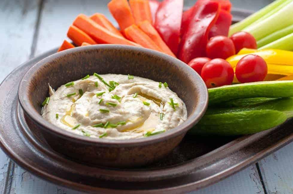 Creamy Lemon feta dip with veggies