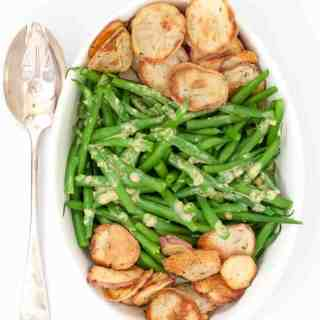 Dijon Green Beans with Crispy Potato Chips overhead view