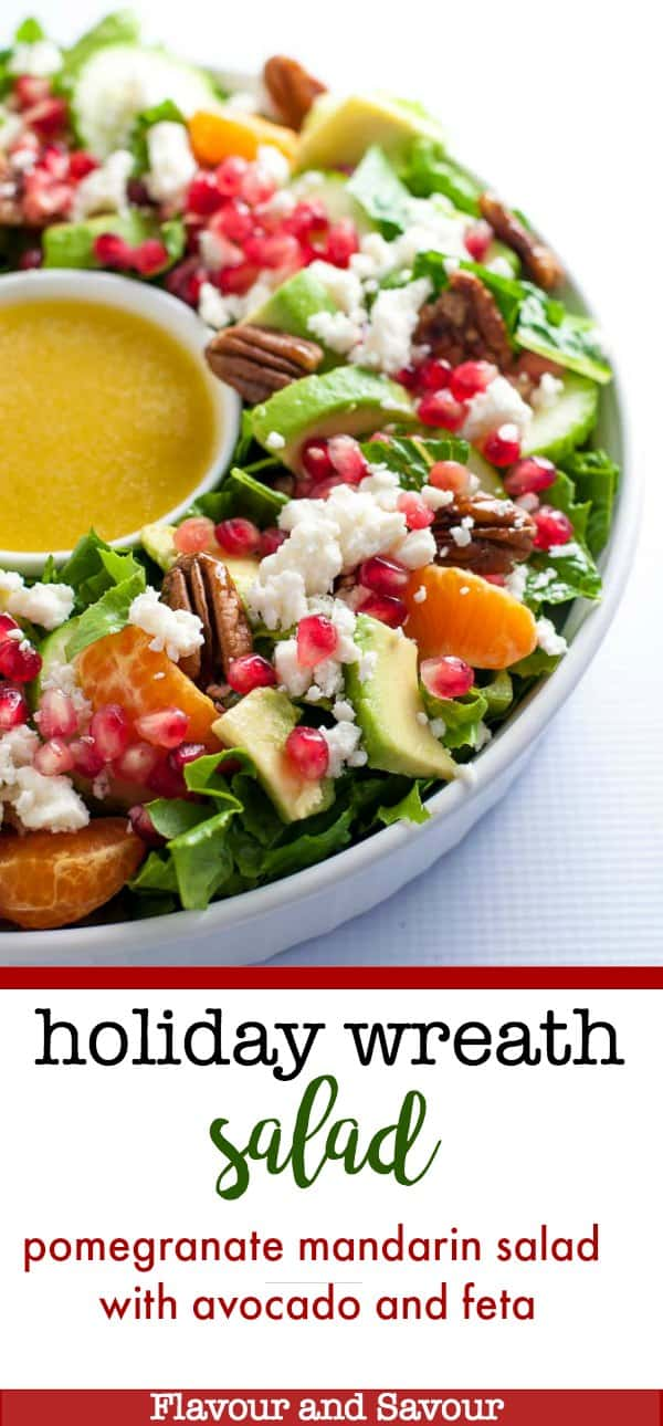 This Pomegranate Mandarin Salad with Avocado and Feta is a festive salad for any winter meal! Make it in a holiday wreath shape for fun. It's bursting with fruit rich in Vitamin C, crunchy pecans and creamy avocado, and topped with crumbled feta or goat cheese. #holiday #wreath #salad #pomegranate #mandarin #feta #avocado #pecans